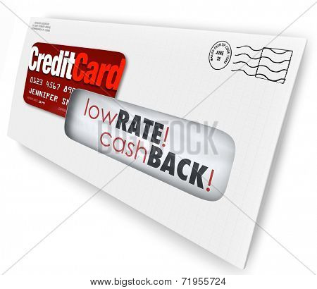Envelope with a credit card offer and words Low Rate, Cash Back to entice you to sign up for a new financing deal or special