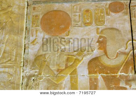 Ancient egyptian Goddess Sekhmet and Seti