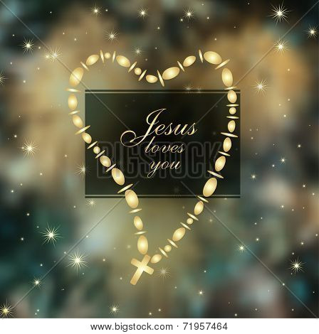 Jesus loves you with Christian Cross in a heart shape over abstract cosmic background, vector