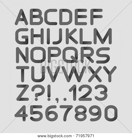 Paper black strict alphabet rounded. Isolated on white. Bold. Vector illustration