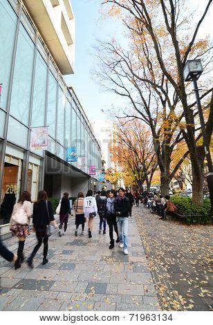 Tokyo, Japan - November 24, 2013: People Shopping At Omotesando Street