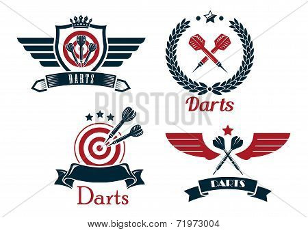 Darts emblems set with laurel wreath, crowns ribbon banners outspread wings heraldic shield  stars and darts for sporting symbol design poster