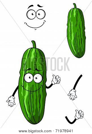 Happy green cartoon cucumber