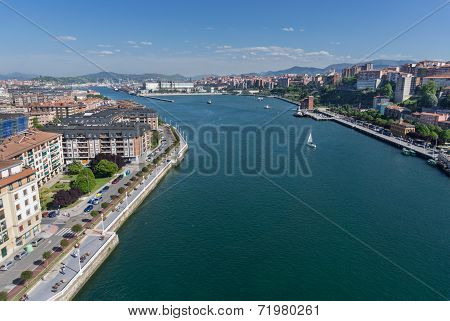 Portugalete and Sestao towns from Bizkaia suspension bridge