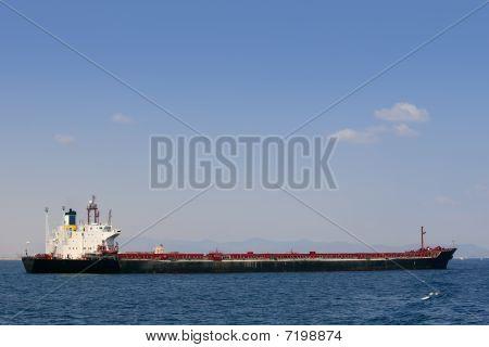 Oil tanker boat over blue Mediterranean