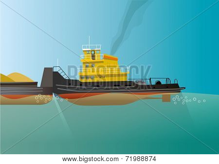 Pusher boat with barge vector illustration in flat design