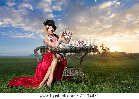 Woman At Wonderland Tea-party