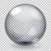 Transparent glass sphere with scratches roughness glares and shadow poster