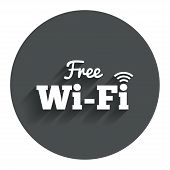 Free wifi sign. Wifi symbol. Wireless Network icon. Wifi zone. Circle flat button with shadow. Modern UI website navigation. Vector poster