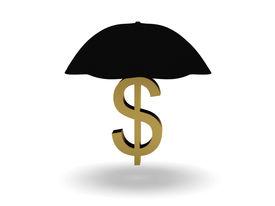 umbrella and dollar symbol