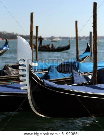 Gondolas On The Water In Venice Italy