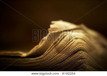 Old Religious Book With Spiritual Lighting.