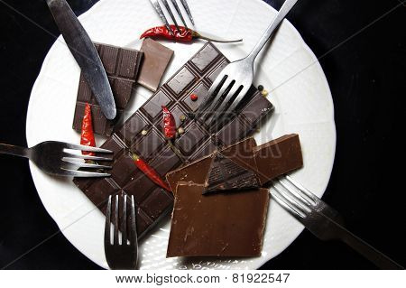 Pieces Of Chocolate On The Plate
