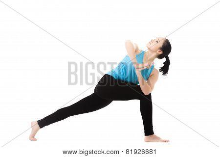 Yogi Female In Yoga Pose Parivritta Parshvakonasana