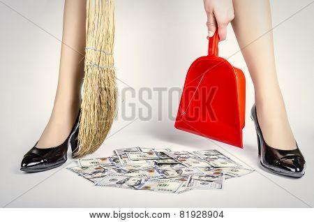 Heap of dollars between the woman's legs