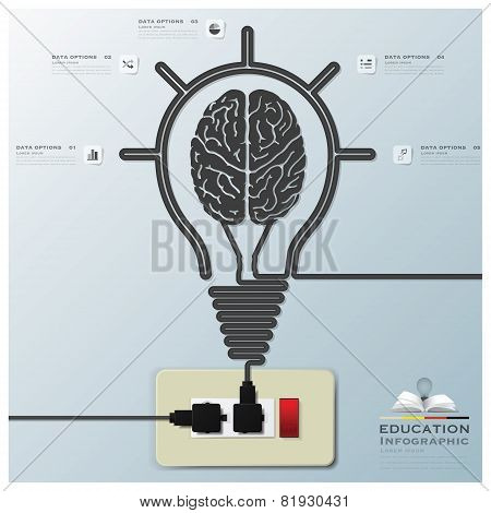 Brain Light Bulb Electric Line Education Infographic Background