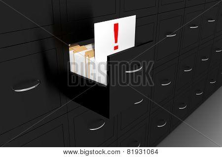 Opened Black File Cabinet White Document Exclamation Mark Illustration