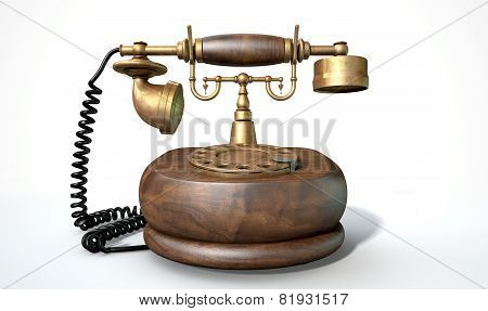 A vintage wood and brass telephone with a handset and dial embellishments on an isolated white studio background poster