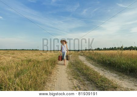 Teenage Traveler Afoot On Country Road