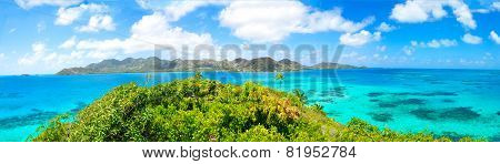 Panorama, Huge Panoramic View Of Providencia Caribbean Island Of Colombia. Seven Color Sea, Reef, Cl