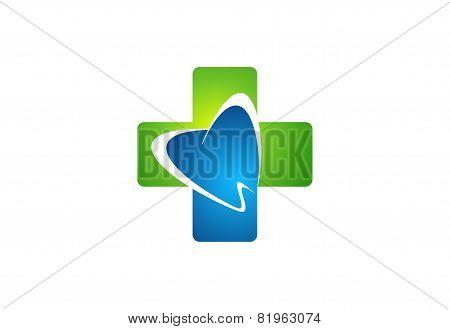 Medicine dental health care icon,cross dentist logo,plus nature healthy teeth symbol design vector