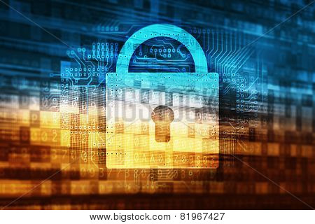 Password Data Safety Abstract Internet Technology Concept Illustration with Closed Padlock Icon and Digital Data Background. poster