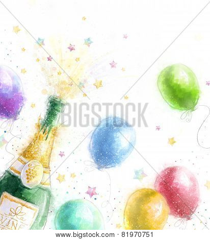 Champagne party. Celebration theme with splashing champagne balloons and stars.Happy Birthday.