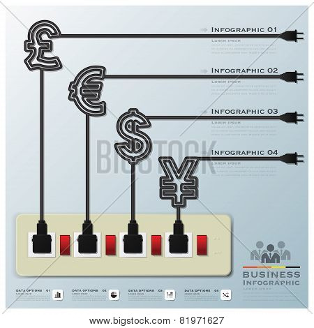 Money Currency Electric Line Business Infographic