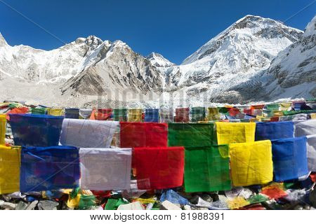 view from Mount Everest base camp with rows of buddhist prayer flags - Khumbu valley - Nepal poster