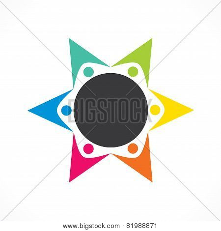 creative colorful teamwork icon design vector