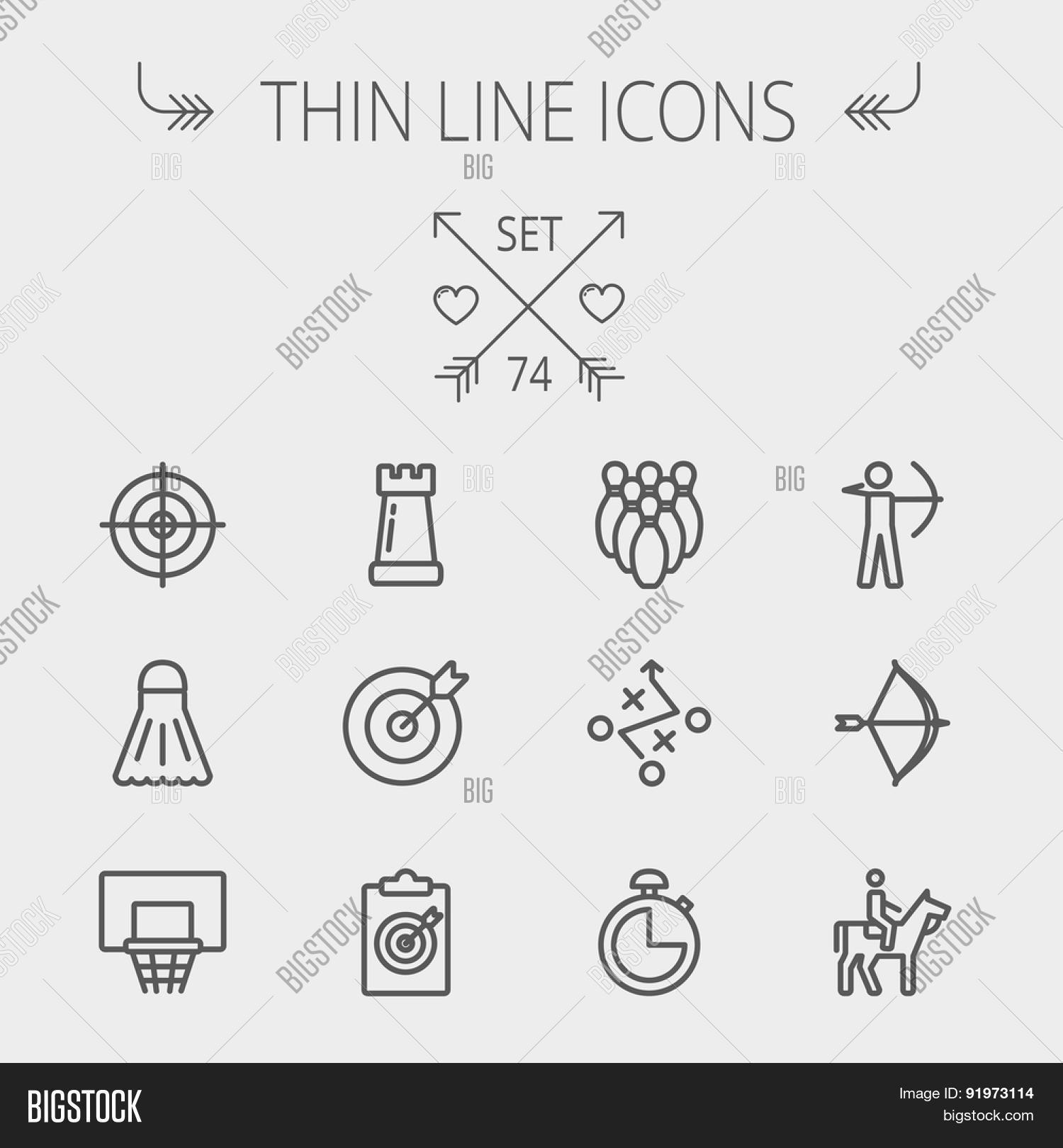 Sports Thin Line Icon Vector & Photo (Free Trial) | Bigstock