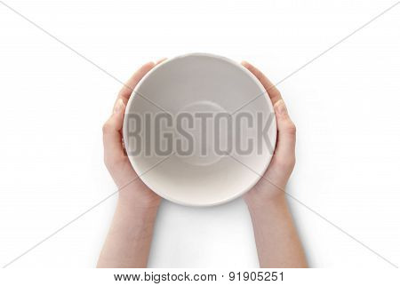 Empty Plate In Hand Isolated.