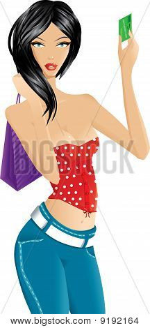 Beautiful woman with purple shopping bag showing a credit card