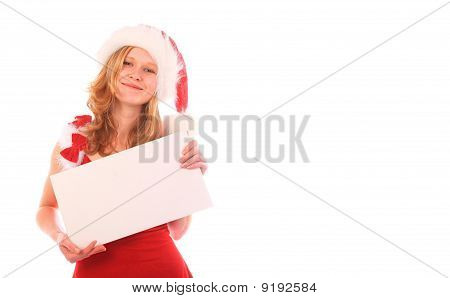 Miss Santa Is Holding An Ad - White Space On The Right