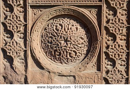 Floral ornamental knotworks of armenian cross stones - khachkarsancient christian artunesco heritage,Ejmiadzin monastery poster