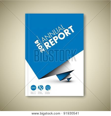 Modern Vector abstract white brochure / book / flyer design template with blue paper