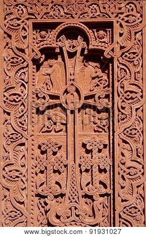Stone carving - christian cross with floral ornament in Geghard rock monastery,Armenia,Caucasus ,unesco heritage site poster