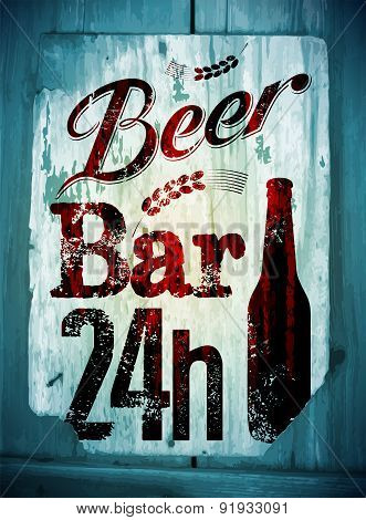 Vintage grunge style beer bar poster. Retro typographical vector illustration on wood background. Ep