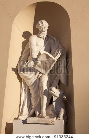 Statue On The Wall Of Vilnius Cathedral
