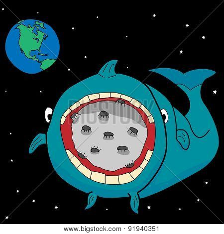 whale swallows the moon