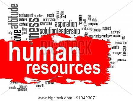 Human Resources Word Cloud With Red Banner