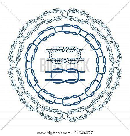 Nautical sea rope knots bordes brushes set.