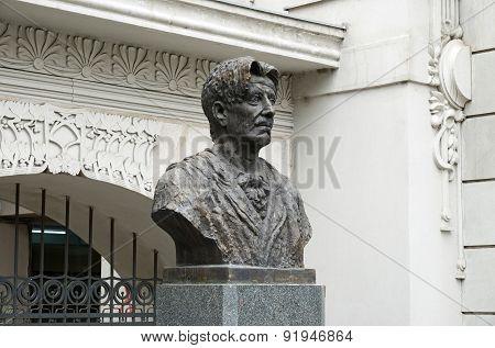 Tbilisi, Georgia-Feb,27 2015:The bust of Georgian theater founder Kote Marjanishvili in Tbilisi poster