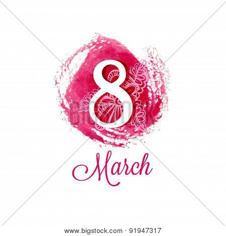 Greeting card with March 8. International Women's Day. poster