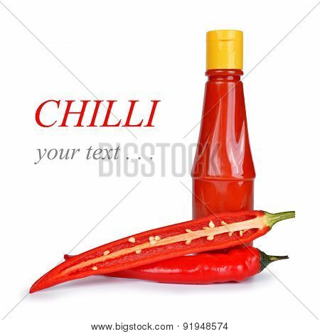 Hot sauce in bottle with Red chili pepper