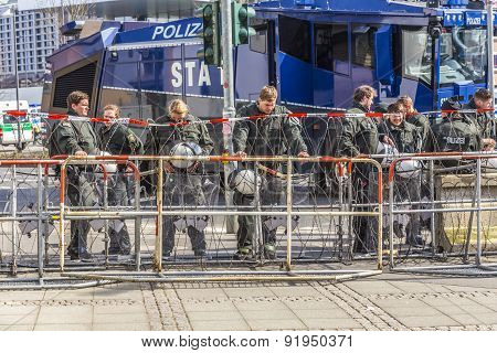 Police Pays Attention At Demonstration Against Ezb And Capitalism In Frankfurt