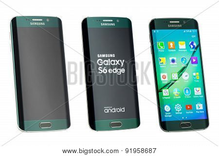 Varna, Bulgaria - May, 26, 2015: Studio Shot Of A Green Samsung Galaxy S6 Edge Smartphone, With 16 M