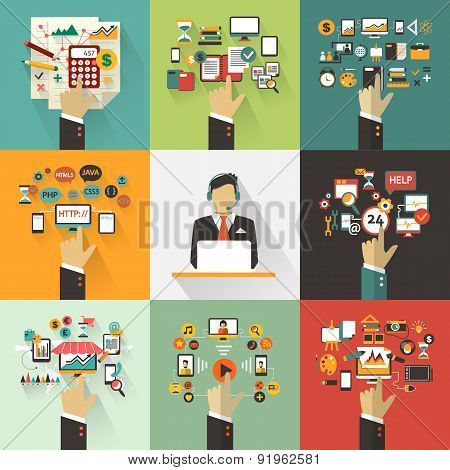Set Of Business Concept With Hands. Freelance Infographic.