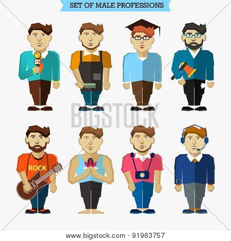 Set Of Male Professions. Meteorologist, Barber, Interviewer, Pho
