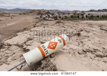 Historic low lake levels at Lake Mead in the drought ravaged state of Nevada.